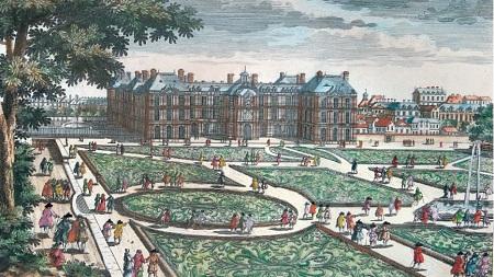Gravure représentant le Jardin et la façade sud du Palais du